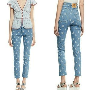 Marc Jacobs Embroidered High Waist Straight Jeans
